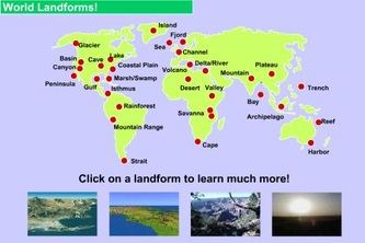 world map with landforms
